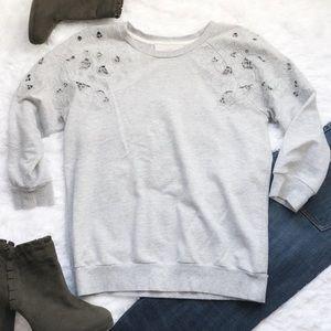 Ann Taylor Loft Grey Floral Cutout Sweatshirt